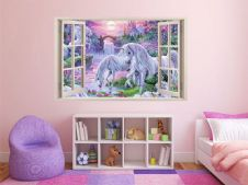 FULL COLOUR Unicorn Wall Art, Modern Transfer, PVC Decal, 3D Window, Sticker